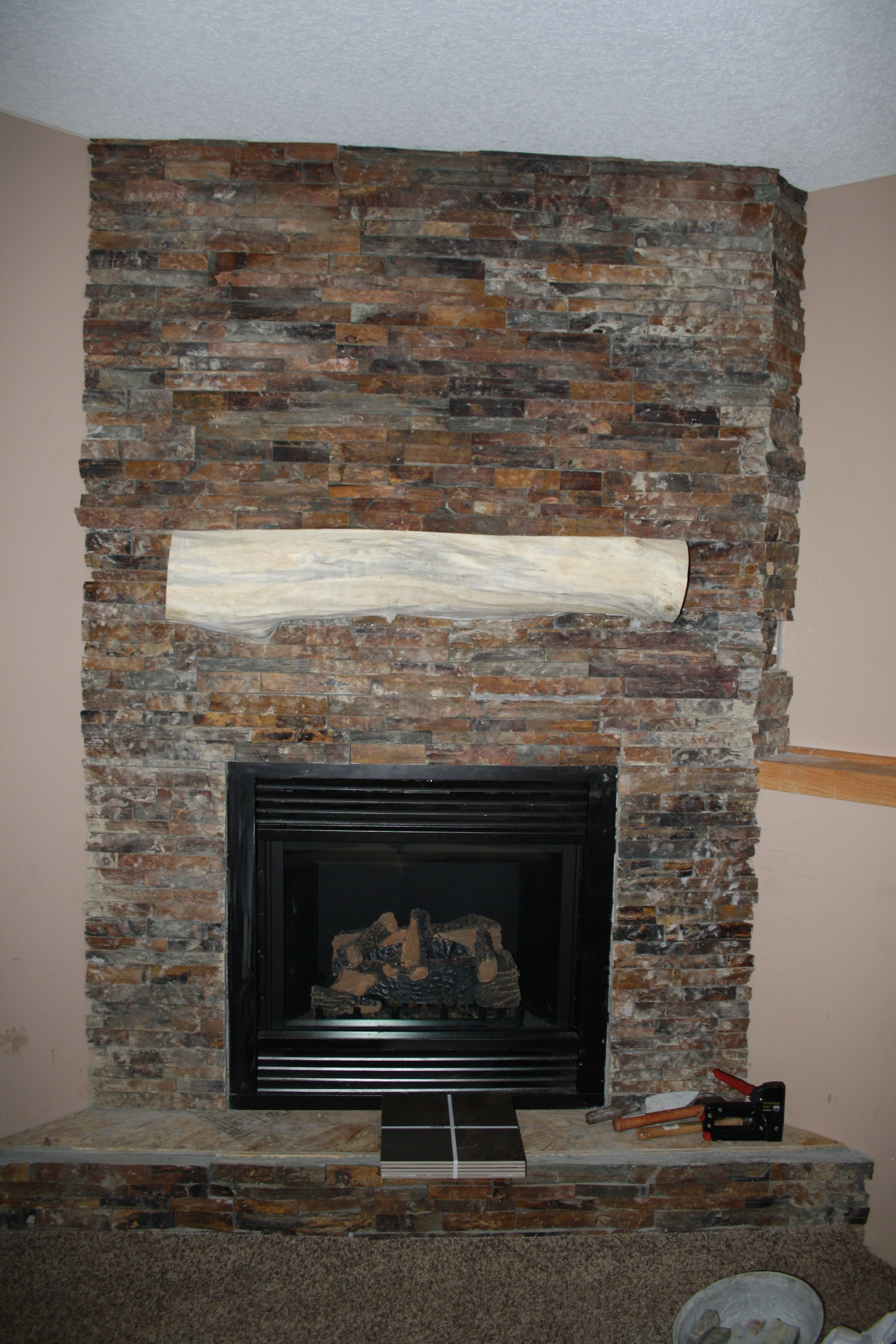 almost done corner fireplace patchwork reality we
