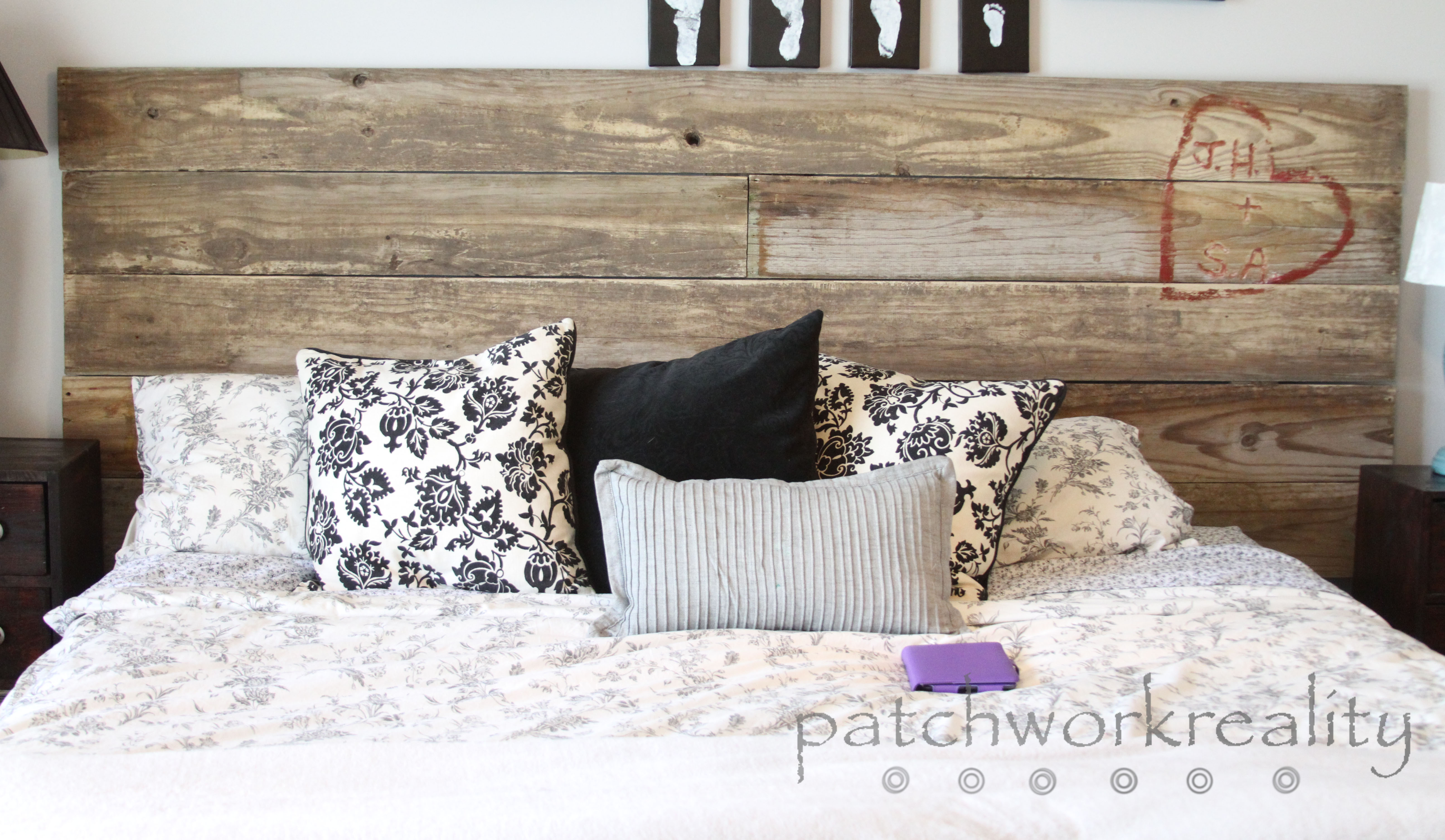 Upcycled Rustic Initial Carved Headboard Patchwork Reality