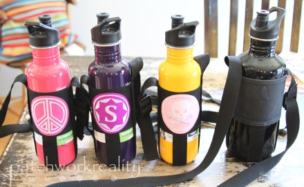 Custom patched water bottle slings.